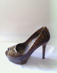90fa2ee89b1c06 Stuart Weitzman heels sz 6.5M Lille Cognac Tiger Snake VGUC  498 peep toe  pump