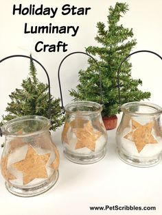 Holiday Star Luminary Craft, using kraft-colored, star-shaped labels + Sparkle Mod Podge on dollar store glass lanterns! #holidaygifthoa