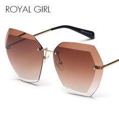 f2c4bd05f82 ROYAL GIRL Brand Designer Women Sunglasses Vintage Rimless frame Summer Lens  shade glasses SS260 Fashion 2017