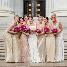Mismatched Bridesmaid Dresses | Tracey Buyce Photography | Theknot.com
