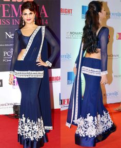 Jacqueline Fernandez looked ravishing in a Manish Malhotra's sari on the red carpet at Miss India 2014.