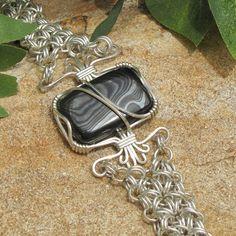 Psilomelane and Chain Maille Bracelet  by WonderlandDesigns, $67.00