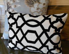 Black and white trellis velvet decorative pillow