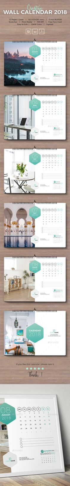 Clean Calendar 2017 Calendar 2017, Template and Calendar design - Indesign Calendar Template