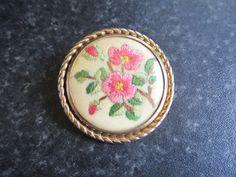 VINTAGE HAND Embroidered floral flower brooch by VintageHub2016