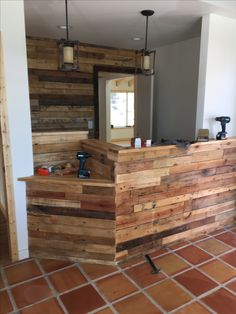 Pallet wall by Cowboy Jeff. Physicians office in Stockbridge, Ga Custom Wood Furniture, Pallet Patio Furniture, Reclaimed Wood Furniture, Wood Pallet Crafts, Diy Pallet Projects, Wood Pallets, Pallet Stand Ideas, Pallet Tv Stands, Diy Projects Made From Wood