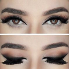 slightly smoked black #winged #eyeliner | top-heavy, neutral cat eye #makeup @sadiiyah