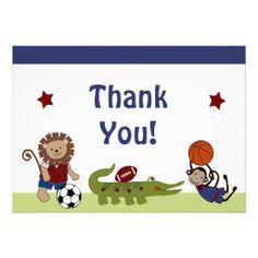 Safari Team/Animals Sports Baby Shower Thank You Card
