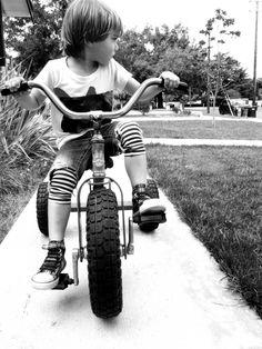 MIMA | Mini & Maxiums  love the stripey leggings under cut off denim here.