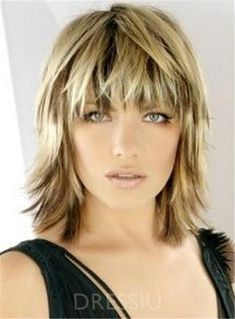 medium choppy haircuts Blonde medium length choppy shag haircut with wispy bangs and dark . Medium Choppy Haircuts, Medium Shag Hairstyles, Blonde Haircuts, Hairstyles With Bangs, Bangs Hairstyle, Bob Haircuts, Haircut Medium, Haircut Short, Straight Hairstyles