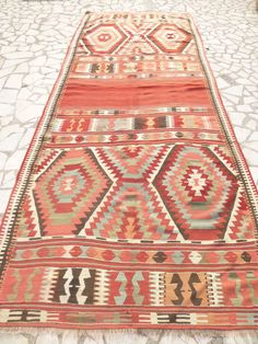 Antique Colorful Kilim Area Rug Large Red Woven by SophiesBazaar