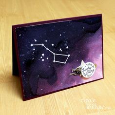 Use three different ink colors and the Going Global stamp set to create a stunning night sky. | My Lucky Stars #TGIFC37: Create with Kaitlyn