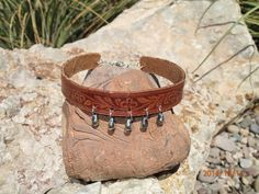 OOAK choker/ leather floral and beaded by longshotleather on Etsy