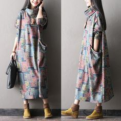 women cotton linen loose fitting long sleeve autumn and spring maxi dress plus size clothing buykud - 1