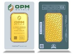 OPM 1oz Gold Stamped Bar. Each bar weighs 1 Troy Ounce of 999.9 Fine Gold. Each Gold bar comes packed in an assay card certifying the weight and gold metal purity. Manufactured by Ohio Precious Metals who are registered 'good delivery' manufacturers of the LBMA.
