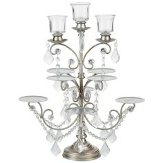"- Features 8 individual cupcake holders; each holder is 3.5"" wide - Includes 3 removable glass votive cups for tea light candles - Remove glass votive holders to hold 3 individual taper/ candelabra ca"