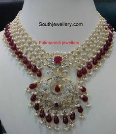 Pearl Ruby Beads Necklace photo