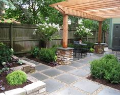 Wanted to save this idea for dimensional stone and gravel from Heffernan Landscape Design, but I don't know that it is practical to have a patio set on this.