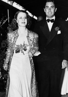 barbarastanwyck:Norma Shearer and Tyrone Power arriving at the premiere of Marie Antoinette, Hollywood, 1938