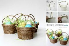 Mini Easter Baskets easter easy diy kids crafts easter crafts easter craft crafts for kids easter baskets easter gifts Easter Gift, Easter Crafts, Holiday Crafts, Easter Egg Basket, Easter Eggs, Diy Ostern, Paper Basket, Diy Paper, Diy Projects