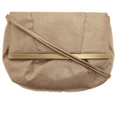 Gold suedette crossbody bag ❤ liked on Polyvore
