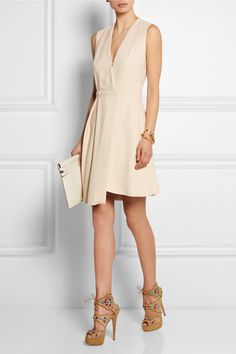 VICTORIA BECKHAM Asymmetric wrap-effect crepe dress Charlotte VICTORIA BECKHAM Leather clutch Olympia | Arizona embellished mesh and suede sandals | NET-A-PORTER.COM