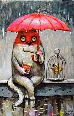 Просмотреть иллюстрацию Дождик из сообщества русскоязычных художников автора Павел Кульша в стилях: Персонажи, нарисованная техниками: Акрил. Umbrella Art, Different Art Styles, Cat Colors, Cat Drawing, Art Journal Inspiration, Cute Illustration, Cat Art, Cats And Kittens, Illustrators
