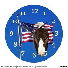 American Bald Eagle and American Flag Clock
