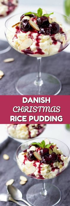 Looking for creative Christmas dessert ideas? Try Risalamande - Danish rice pudding with a flavorful cherry sauce. This no bake Christmas dessert is sure to become a beautiful addition to your festive holiday table.