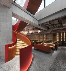 Interior Stairs, Interior Architecture, Patio Chino, Beijing, Chinese Courtyard, Anta, Concrete Facade, Glass Brick, Private Dining Room