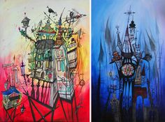 Miniature graffiti paintings on surreal architectural sculptures and some bomb illustrations, too!