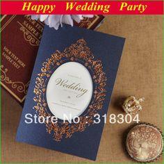 2014 Wedding Invitation Blue Flower Mirror Custom Personalized Invitations Card+envelope+seal 50 Sets US $68.00