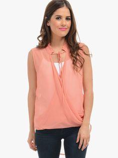 Orange Flirty Sleeveless Blouse | $10 | Cheap Trendy Blouses Chic Discount Fashion for Women | ModD