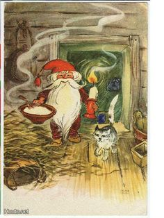 """Have yourself a merry little Christmas"" Merry Little Christmas, Vintage Christmas Cards, David The Gnome, Humanoid Creatures, Nostalgic Images, Kobold, Scandinavian Gnomes, Hobgoblin, Cute Art"