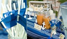Nautical Baby Shower Brunch {guest feature} - Celebrations at Home Baby Shower Brunch, Baby Boy Shower, Baby Showers, Bridal Showers, I Party, Party Time, Party Ideas, Lake Party, Party Stuff