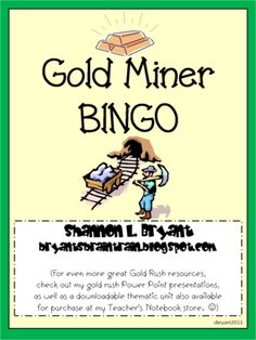 Gold+Rush+BINGO+Game+from+Bryants+Brain+Train+on+TeachersNotebook.com+-++(10+pages)+