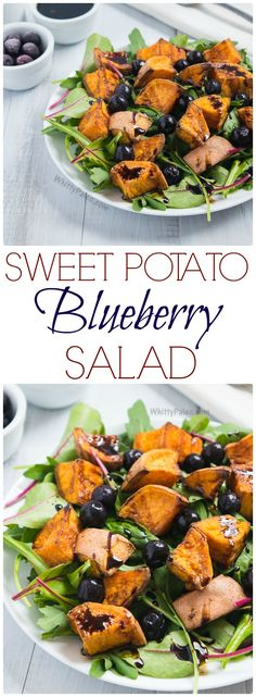 Cinnamon Roasted Sweet Potato Blueberry Salad with Balsamic Reduction. Talk abou… Cinnamon Roasted Sweet Potato Blueberry Salad with Balsamic Reduction. Talk about a new twist on your old salad! Healthy Salad Recipes, Lunch Recipes, Paleo Recipes, Whole Food Recipes, Cooking Recipes, What's Cooking, Fruit Recipes, Drink Recipes, Delicious Recipes