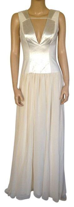 NEW BCBGeneration BCBG DRESS CREME OFF WHITE DRESS MAXI GOWN SHIMMER S SMALL #BCBGeneration #Peplum #Formal