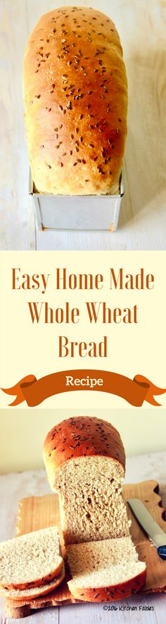 A recipe for easy whole wheat bread made at home. Once you start baking bread at home, you will not want to buy the bread from store. Wheat Bread Recipe, Tasty Bread Recipe, Bread Recipes, Baking Recipes, Flour Recipes, Baking Bread At Home, Baking Breads, Vegan Indian Recipes, Vegetarian Recipes