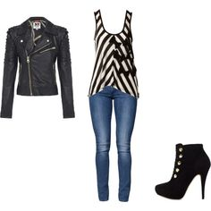 Black Leather Jacket, Black heels with buttons, jeans, and black&white stripped tank.