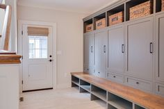 Larger Gray Lockers in Mud Room - Farinelli Construction