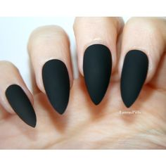 Matte Black Stiletto false nails! ($7.99) ❤ liked on Polyvore featuring beauty products, nail care and nail treatments
