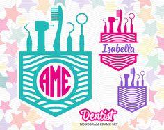 Dentist Monogram Frame SVG EPS DXF Studio3 Medical Cut by LetitCut