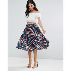 0a2e304264c5c Liquorish Abstract Print Pleated Skirt (170 SAR) ❤ liked on Polyvore  featuring skirts,