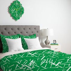 Karen Harris Konstructivist Emerald Duvet Cover #green #chartreuse #emerald #kelly #avocado #sage #pattern  #home #decor #bedding #bedroom