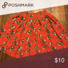Red floral skirt, perfect for sunny days ❤ Timeless red floral skirt ❤ Forever 21 Skirts Circle & Skater