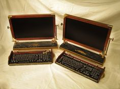 Custom Built - Steampunk Keyboard and Monitor - How cool is this?