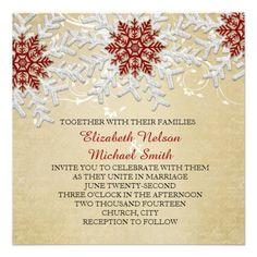 Romantic Christmas Snowflakes Wedding Invite