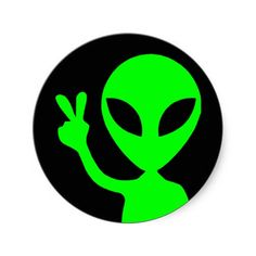 Peaceful Alien Round Stickers