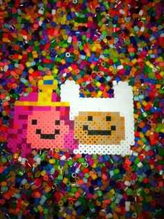 Adventure Time perler beads Princess bubblegum and Finn by brookeworm